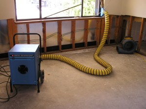 drying water damage with a dehumidifier